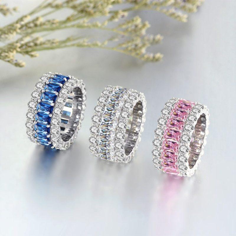 Nhẫn bạc đính đá Zircon đa sắc LILI_671296-01