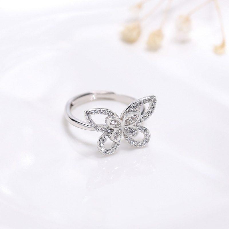 Nhẫn bạc đính đá Zircon hình con bướm xinh LILI_593964-01