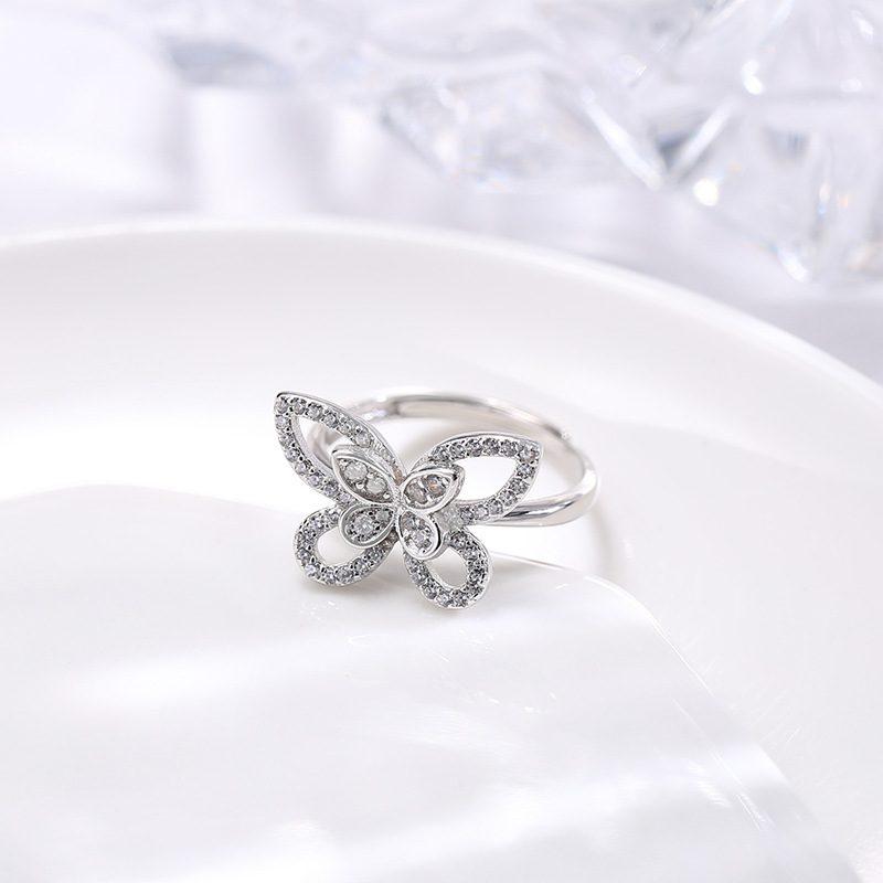Nhẫn bạc đính đá Zircon hình con bướm xinh LILI_593964-03