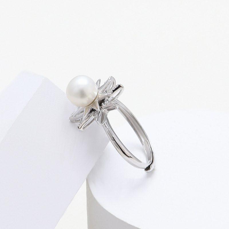 Nhẫn bạc đính ngọc trai hình ngôi sao xoay tròn LILI_631873-01
