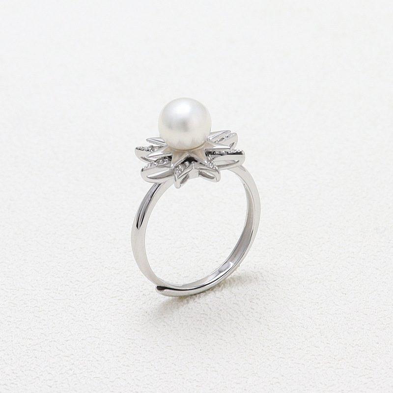 Nhẫn bạc đính ng�c trai hình ngôi sao xoay tròn LILI_631873-02