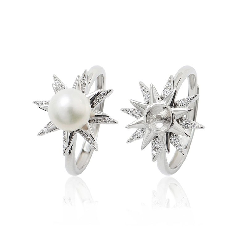 Nhẫn bạc đính ng�c trai hình ngôi sao xoay tròn LILI_631873-03