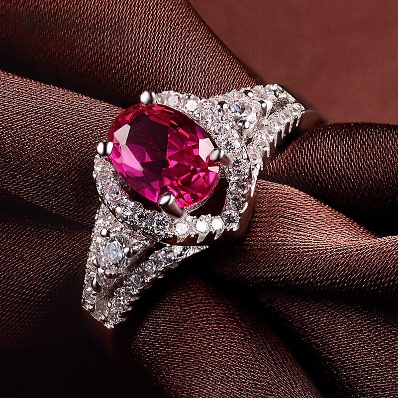 Nhẫn bạc mạ bạch kim đính đá Corundum đỏ LILI_247499-01