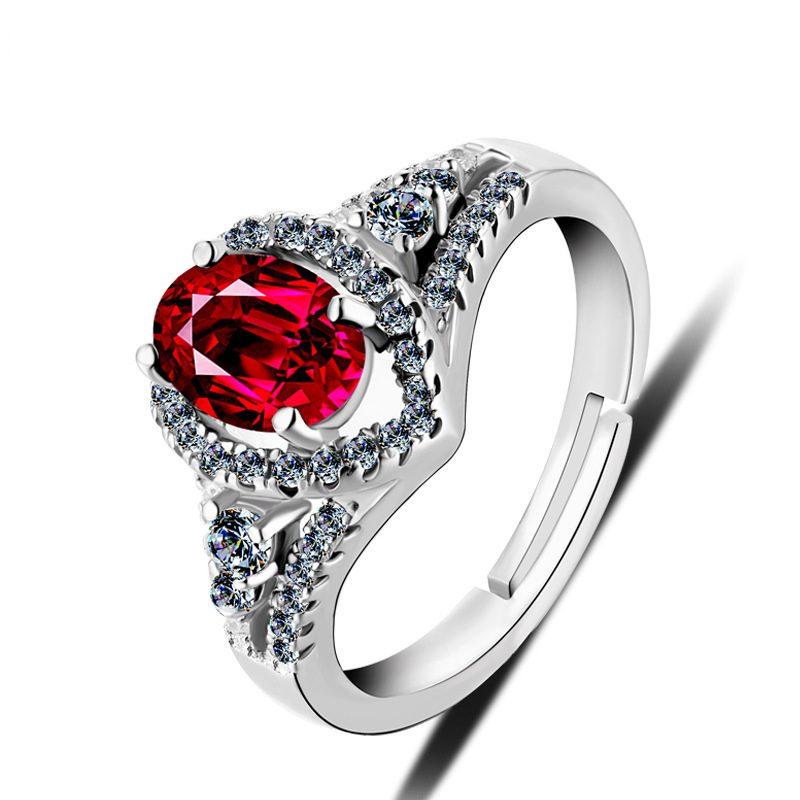 Nhẫn bạc mạ bạch kim đính đá Corundum đỏ LILI_247499-04