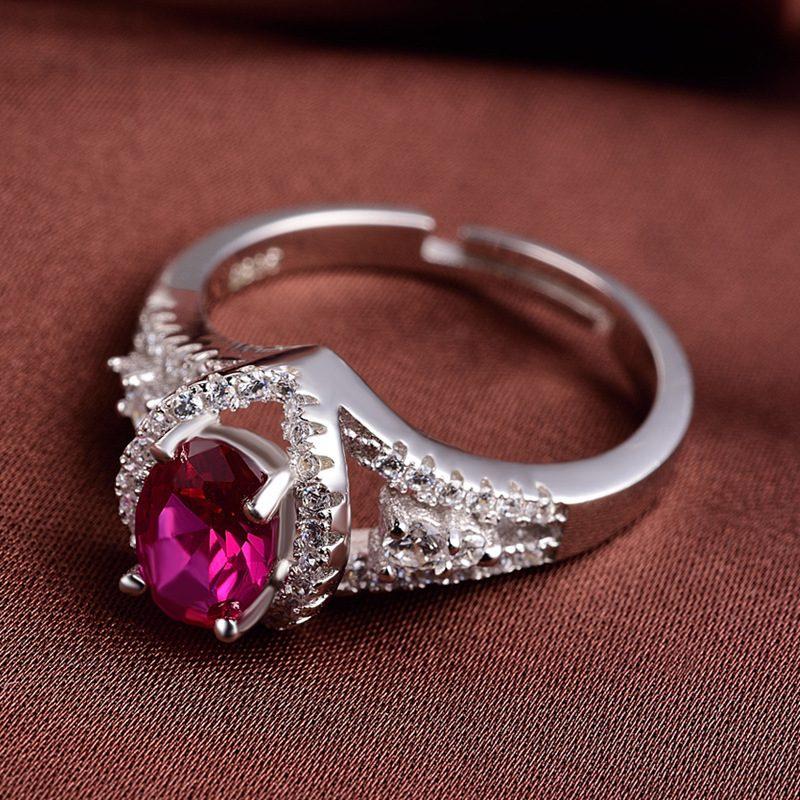 Nhẫn bạc mạ bạch kim đính đá Corundum đỏ LILI_247499-05