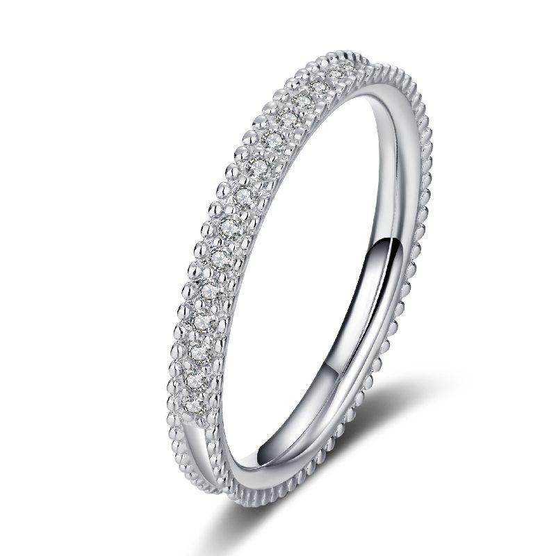 Nhẫn bạc mạ bạch kim đính đá Mossanite 0.15 carat LILI_627394-04