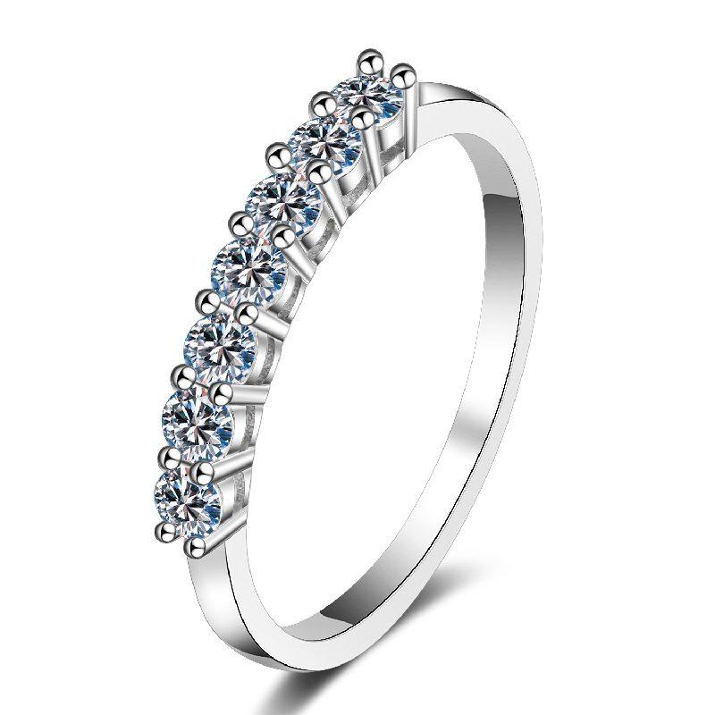Nhẫn bạc mạ bạch kim đính đá Mossanite 0.7 carat LILI_855174-09