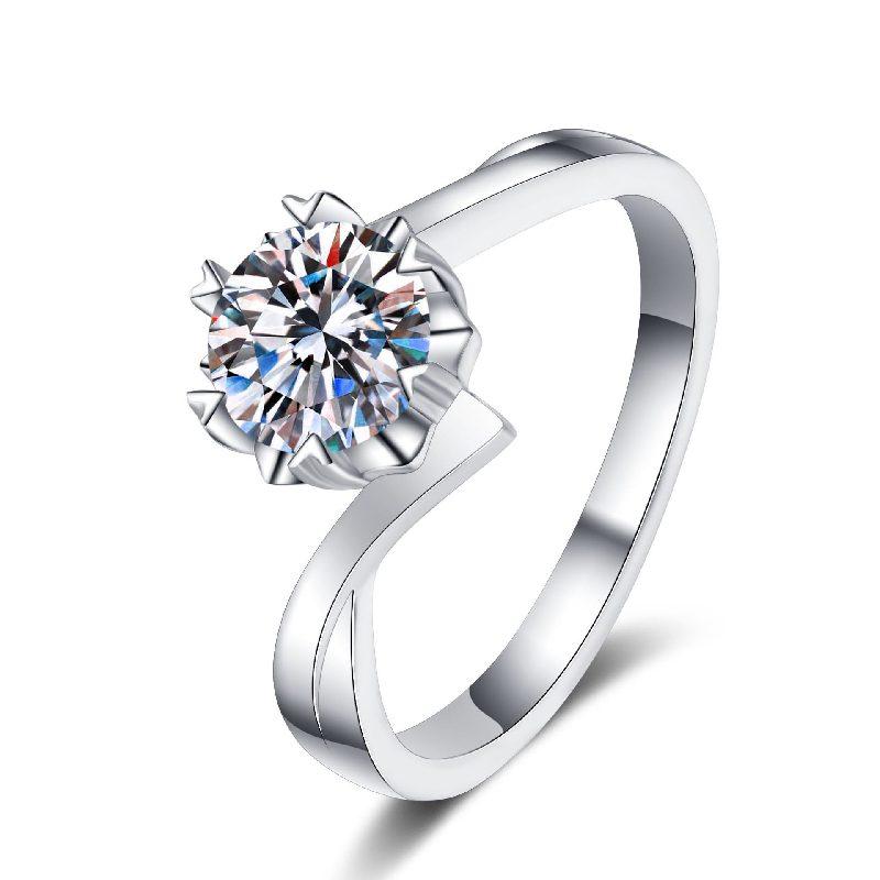 Nhẫn bạc mạ bạch kim đính đá Mossanite 1 carat LILI_155427-05