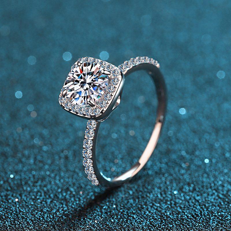 Nhẫn bạc mạ bạch kim đính đá Mossanite 2 carat LILI_478283-01