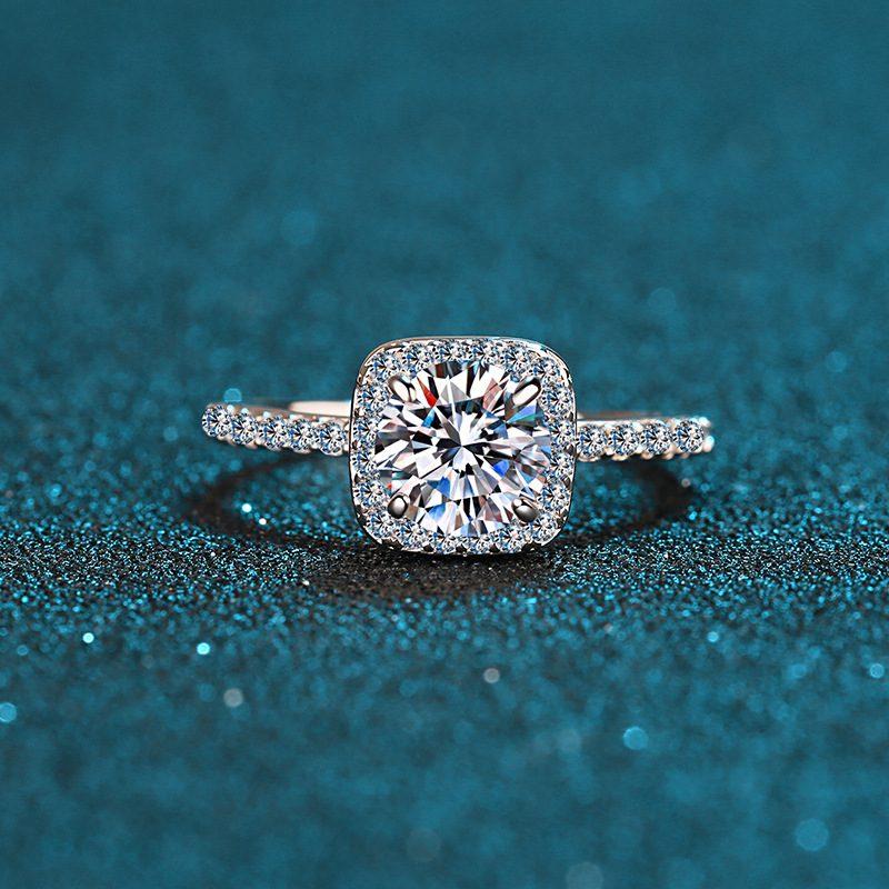 Nhẫn bạc mạ bạch kim đính đá Mossanite 2 carat LILI_478283-02