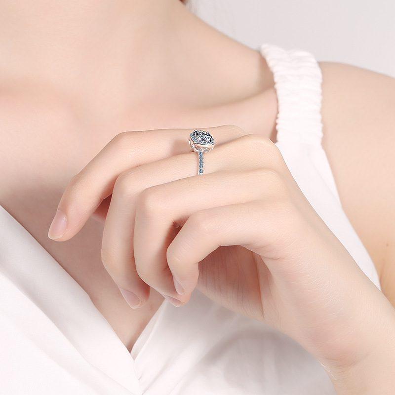 Nhẫn bạc mạ bạch kim đính đá Mossanite 2 carat LILI_478283-03