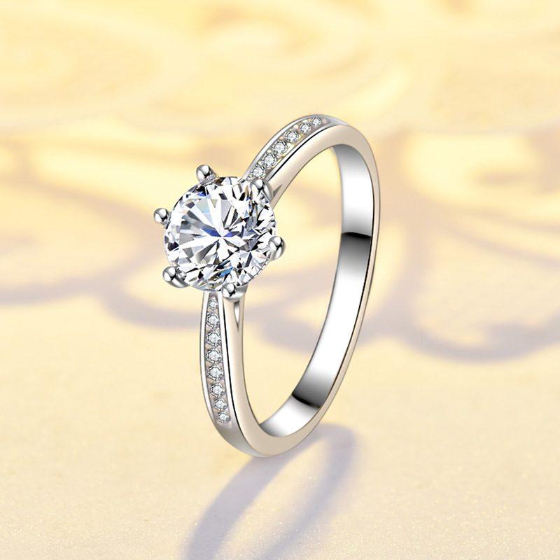 Nhẫn bạc mạ bạch kim đính đá Zircon LILI_422864-06
