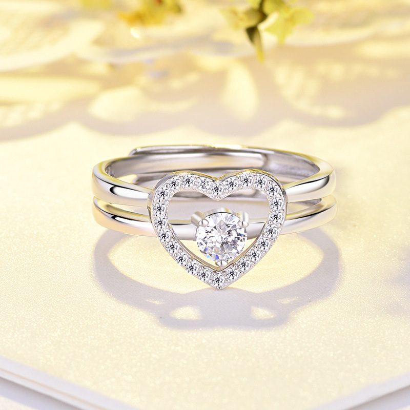 Nhẫn bạc mạ bạch kim đính đá Zircon hình trái tim LILI_744787-01