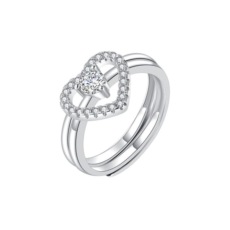 Nhẫn bạc mạ bạch kim đính đá Zircon hình trái tim LILI_744787-02