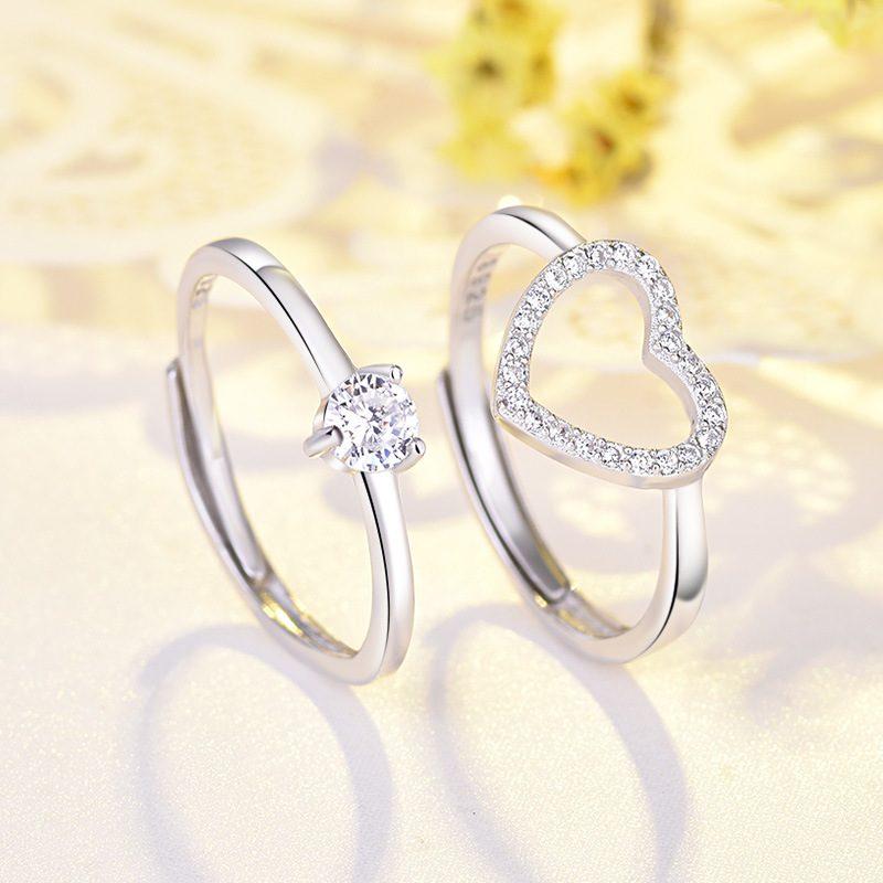Nhẫn bạc mạ bạch kim đính đá Zircon hình trái tim LILI_744787-03