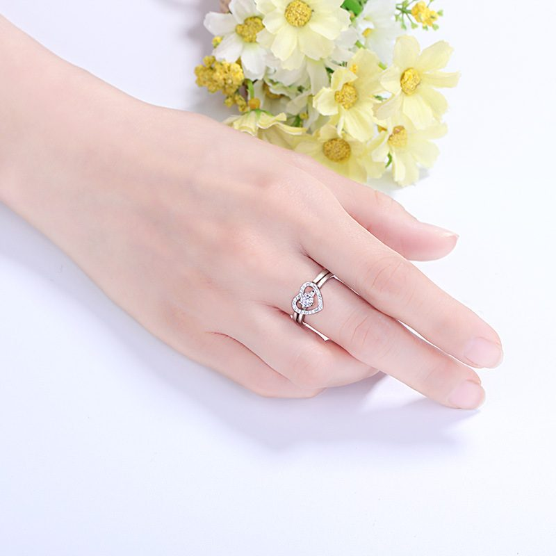 Nhẫn bạc mạ bạch kim đính đá Zircon hình trái tim LILI_744787-04