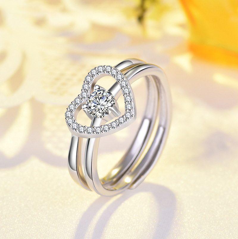 Nhẫn bạc mạ bạch kim đính đá Zircon hình trái tim LILI_744787-05