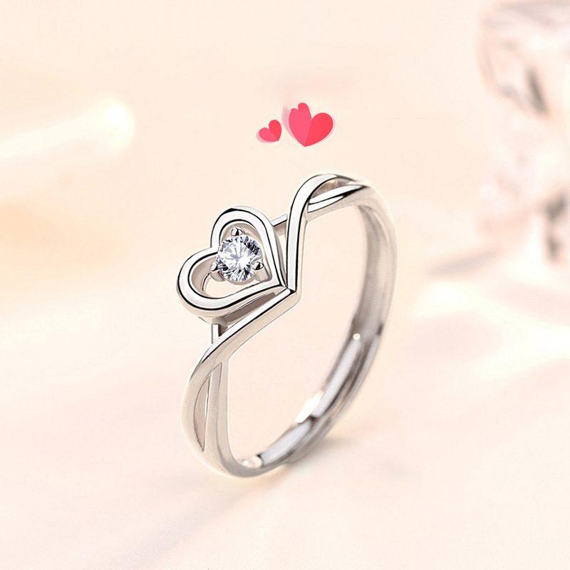 Nhẫn bạc mạ vàng 18k đính đá Zircon hình trái tim LILI_349632-01