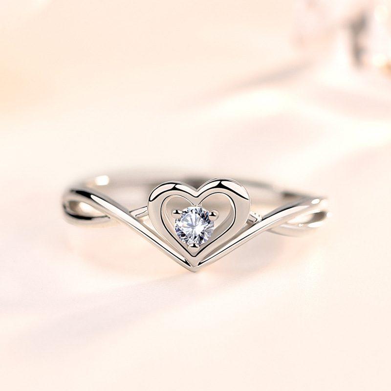Nhẫn bạc mạ vàng 18k đính đá Zircon hình trái tim LILI_349632-02
