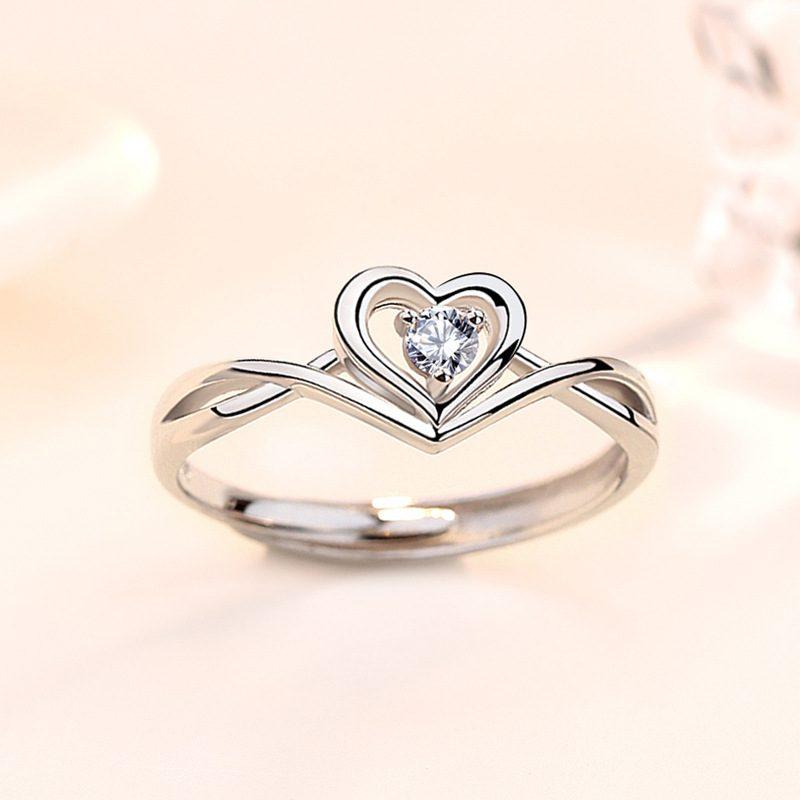 Nhẫn bạc mạ vàng 18k đính đá Zircon hình trái tim LILI_349632-03