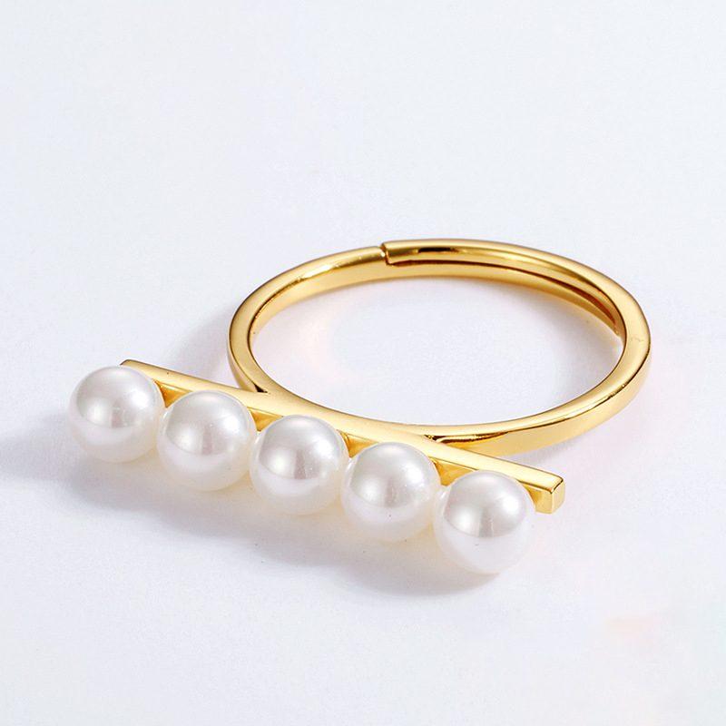 Nhẫn bạc mạ vàng dạng hạt LILI_611583-02