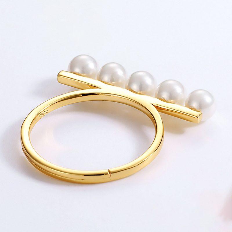 Nhẫn bạc mạ vàng dạng hạt LILI_611583-03
