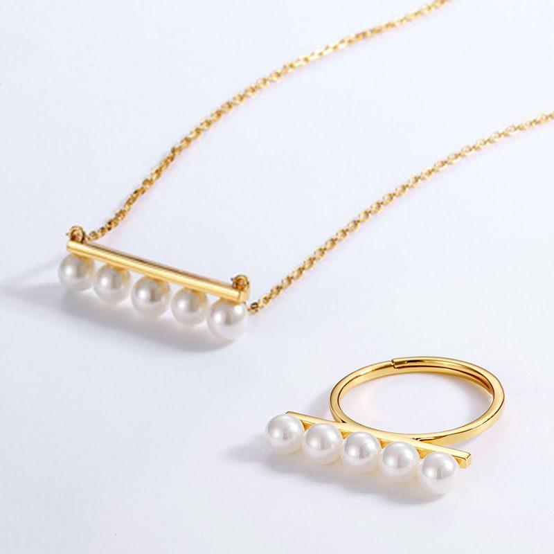 Nhẫn bạc mạ vàng dạng hạt LILI_611583-04
