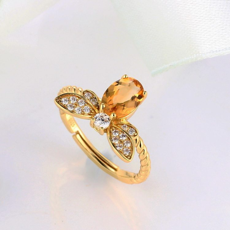 Nhẫn bạc mạ vàng đính đá Citrine LILI_863475-02