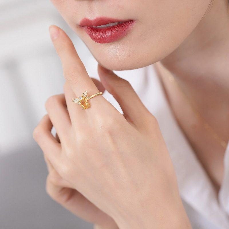 Nhẫn bạc mạ vàng đính đá Citrine LILI_863475-04