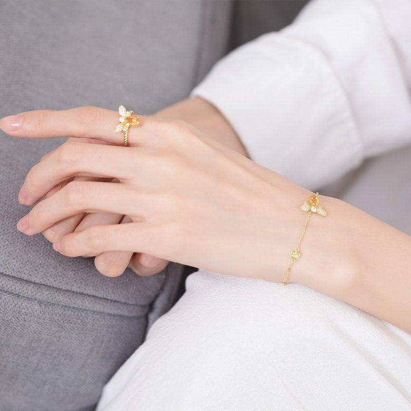 Nhẫn bạc mạ vàng đính đá Citrine LILI_863475-05