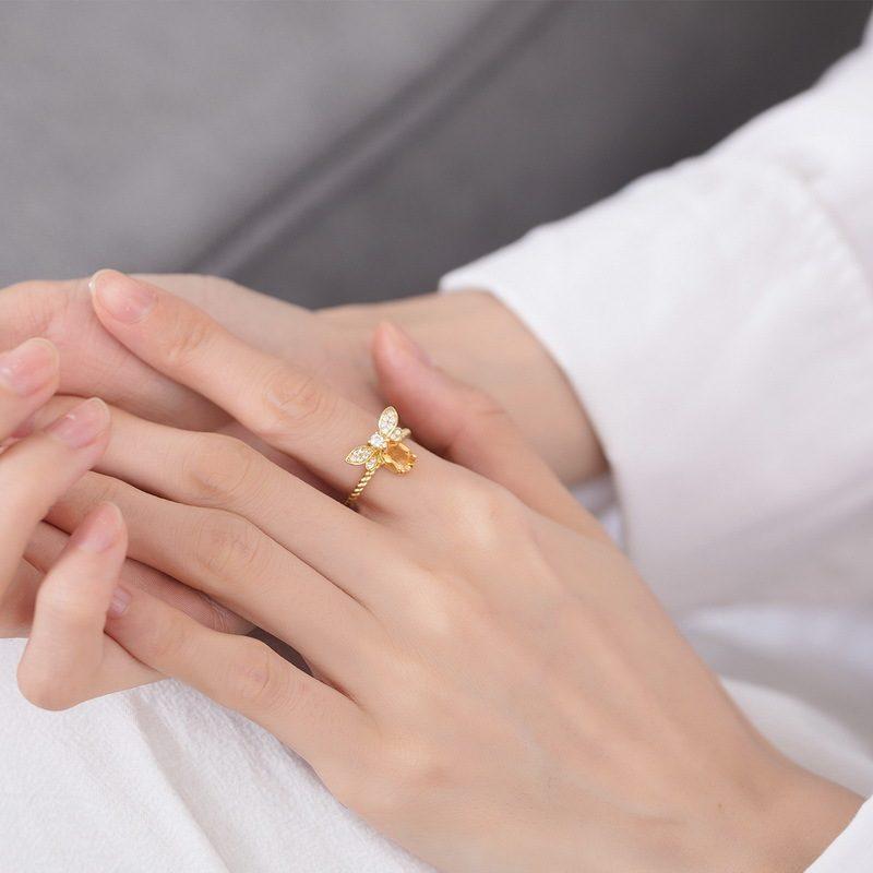 Nhẫn bạc mạ vàng đính đá Citrine LILI_863475-06