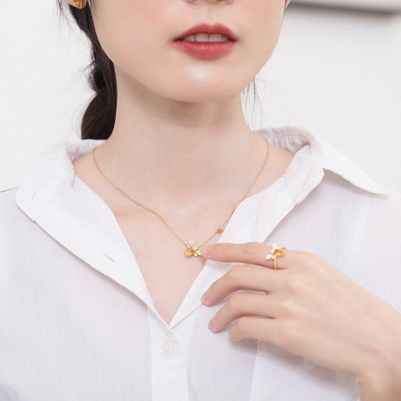 Nhẫn bạc mạ vàng đính đá Citrine LILI_863475-07