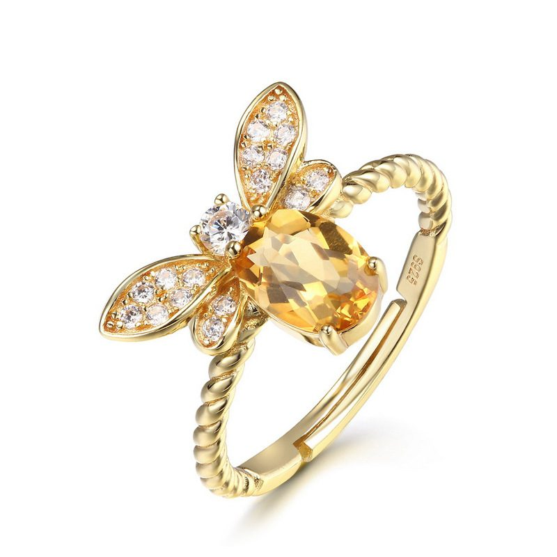 Nhẫn bạc mạ vàng đính đá Citrine LILI_863475-08