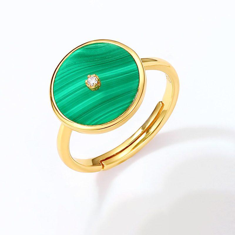Nhẫn bạc mạ vàng đính đá Malachite LILI_738571-01