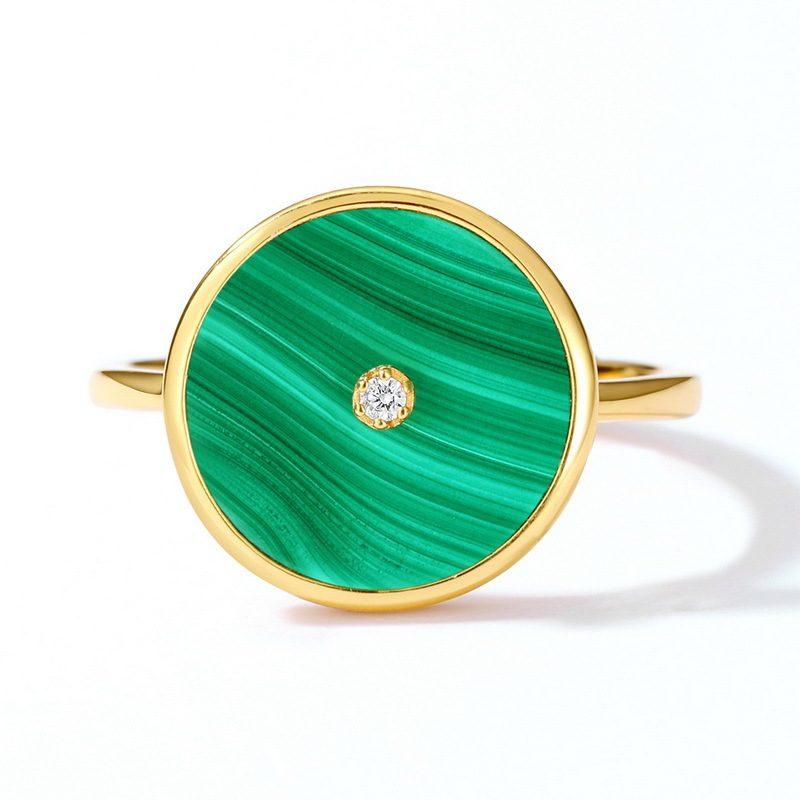 Nhẫn bạc mạ vàng đính đá Malachite LILI_738571-02