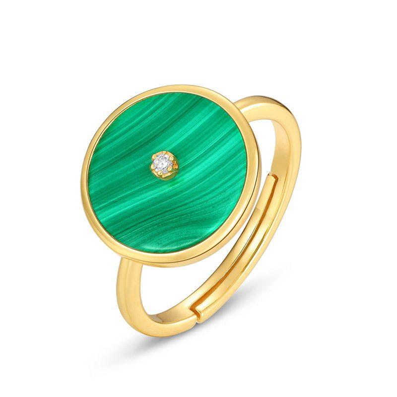 Nhẫn bạc mạ vàng đính đá Malachite LILI_738571-03