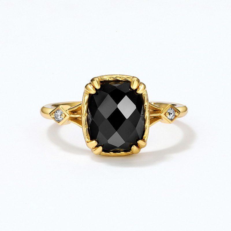 Nhẫn bạc mạ vàng đính đá Zircon Black LILI_823238-01