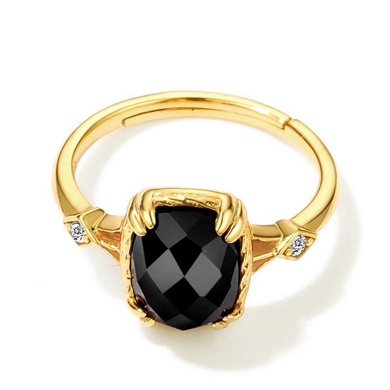Nhẫn bạc mạ vàng đính đá Zircon Black LILI_823238-02