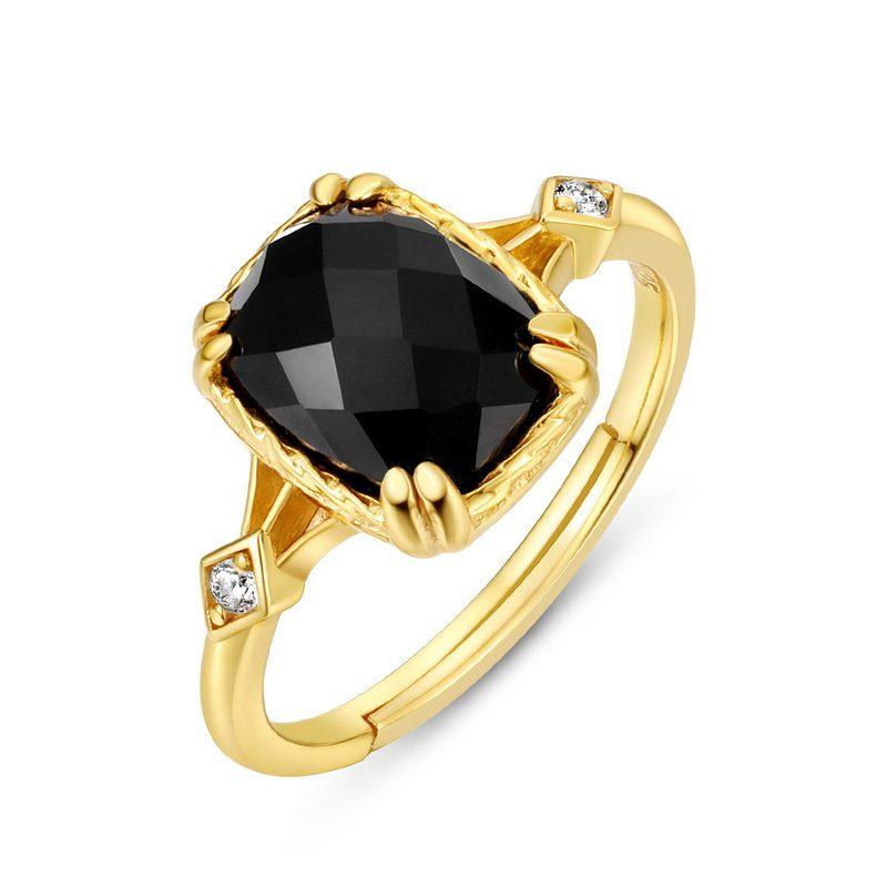 Nhẫn bạc mạ vàng đính đá Zircon Black LILI_823238-03