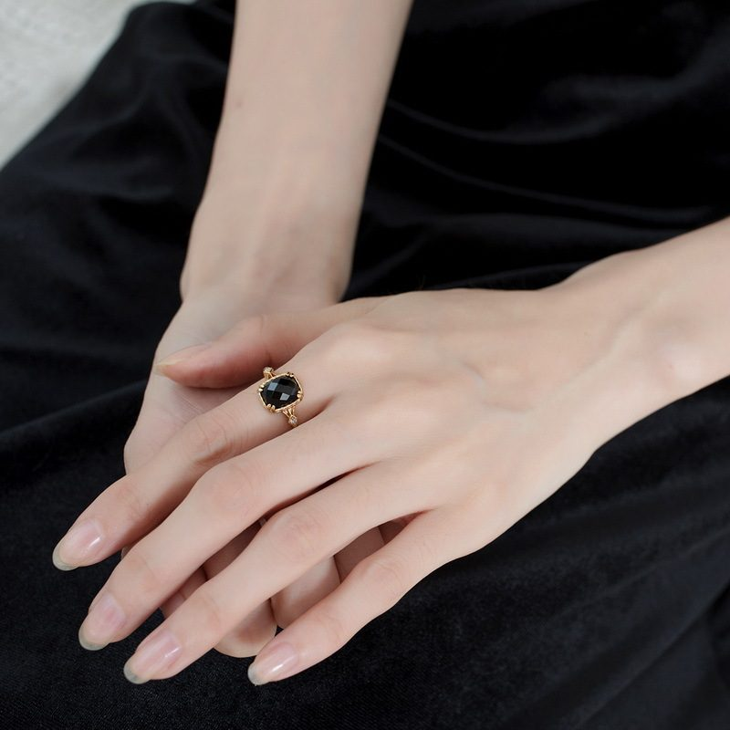 Nhẫn bạc mạ vàng đính đá Zircon Black LILI_823238-04