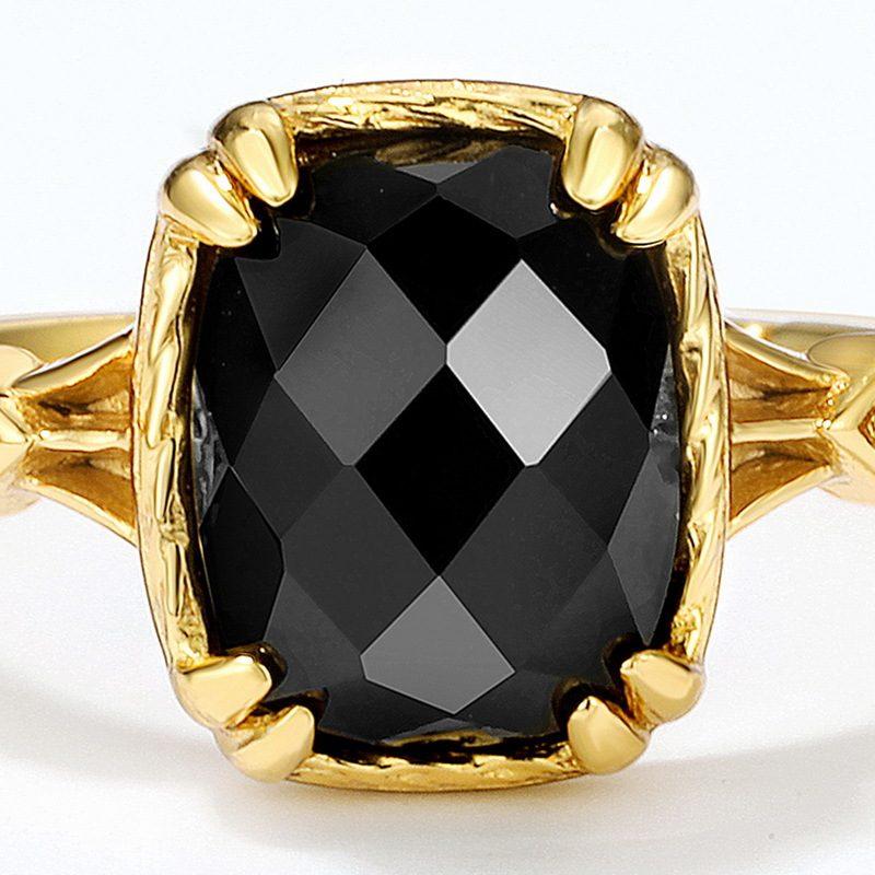 Nhẫn bạc mạ vàng đính đá Zircon Black LILI_823238-05