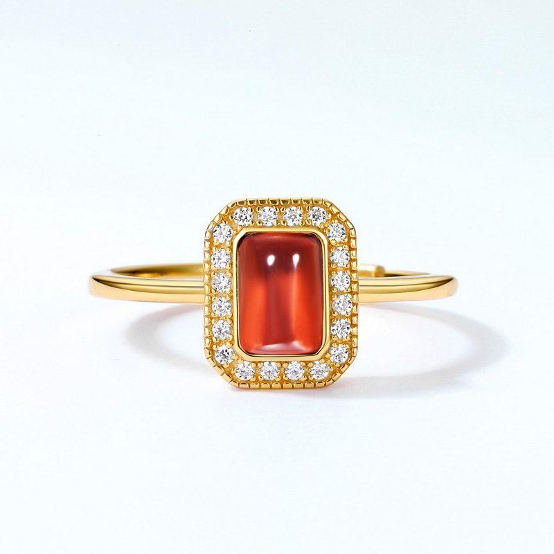 Nhẫn bạc mạ vàng đính đá Zircon Red LILI_548363-01