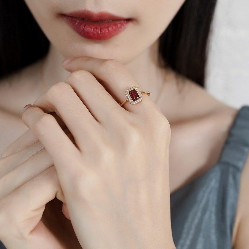 Nhẫn bạc mạ vàng đính đá Zircon Red LILI_548363-02