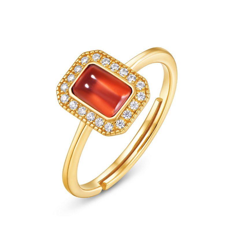 Nhẫn bạc mạ vàng đính đá Zircon Red LILI_548363-04