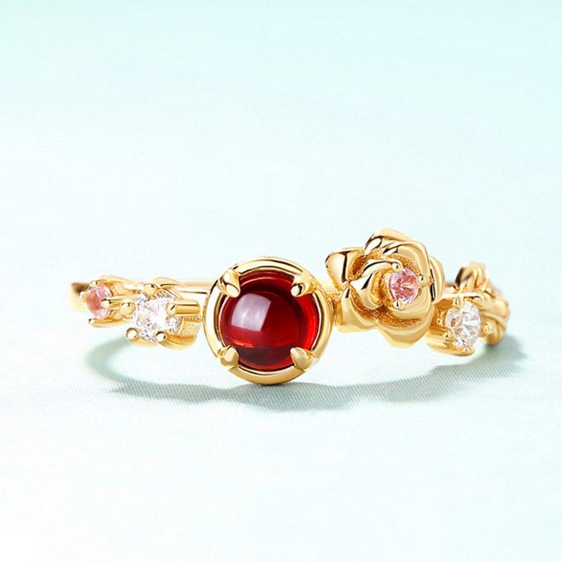 Nhẫn bạc mạ vàng đính đá Zircon Rose LILI_212546-01