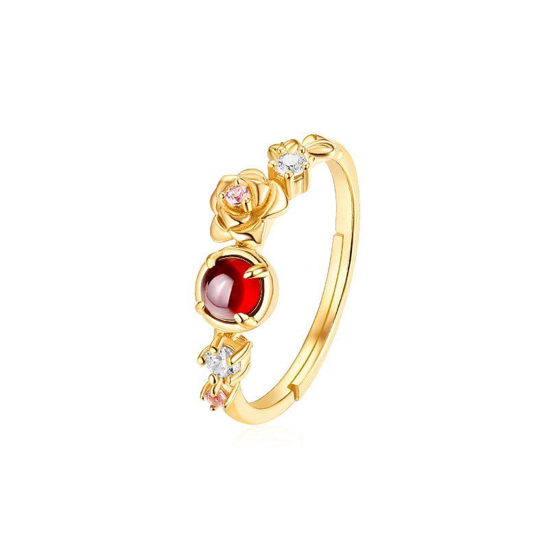 Nhẫn bạc mạ vàng đính đá Zircon Rose LILI_212546-02