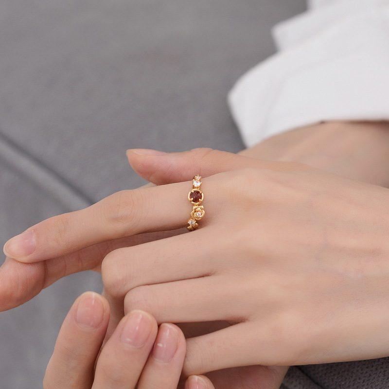 Nhẫn bạc mạ vàng đính đá Zircon Rose LILI_212546-04