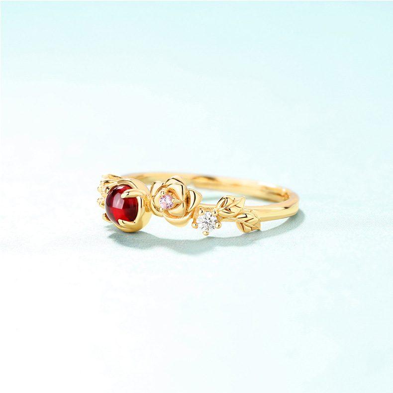 Nhẫn bạc mạ vàng đính đá Zircon Rose LILI_212546-05