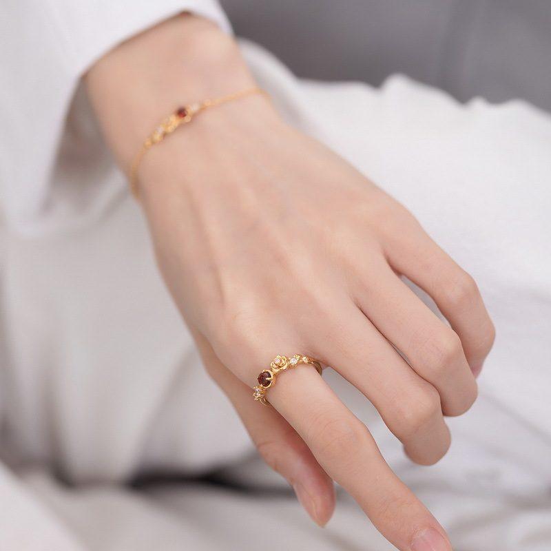 Nhẫn bạc mạ vàng đính đá Zircon Rose LILI_212546-07