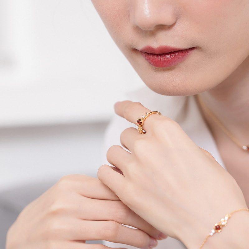 Nhẫn bạc mạ vàng đính đá Zircon Rose LILI_212546-08